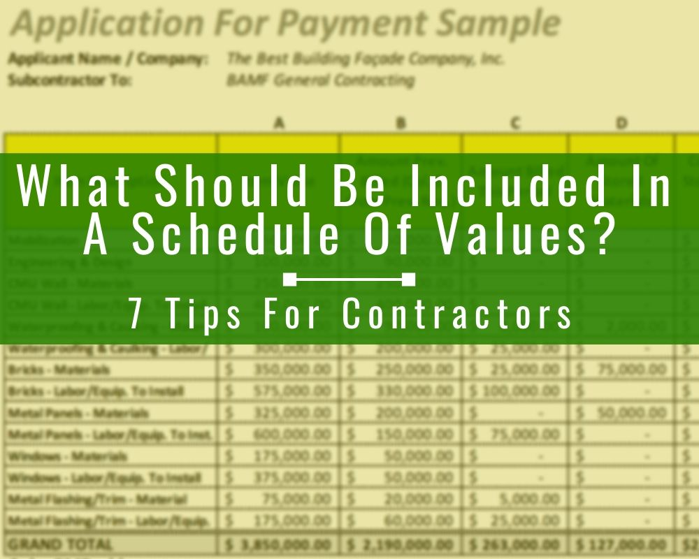 Construction Schedule Of Values What It Is What It Looks Like 7 Tips